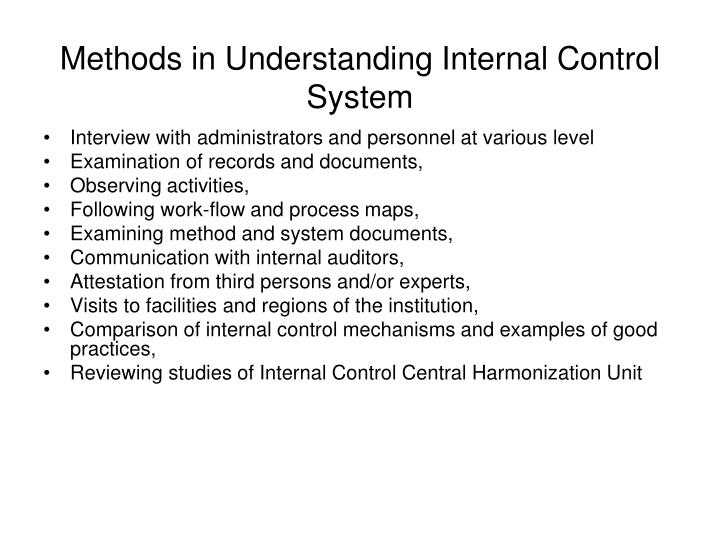 Methods in Understanding Internal Control System