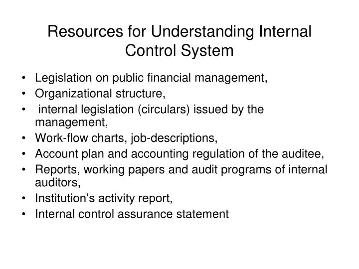 Resources for Understanding Internal Control System