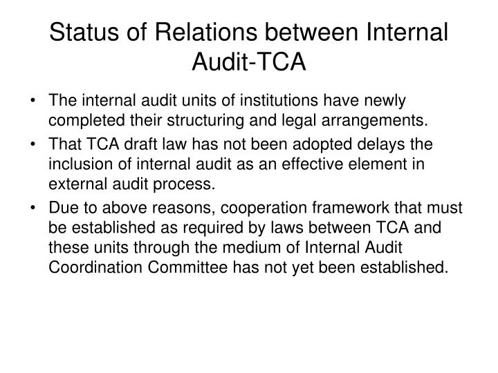 Status of Relations between Internal Audit-TCA