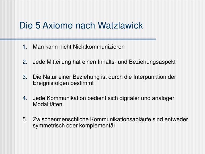Die 5 Axiome nach Watzlawick