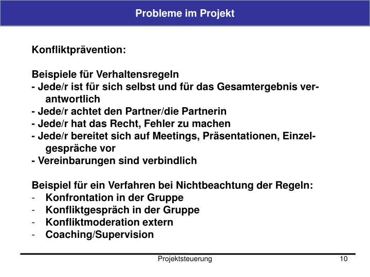 Probleme im Projekt