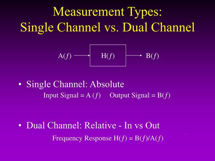 Measurement Types:            Single Channel vs. Dual Channel