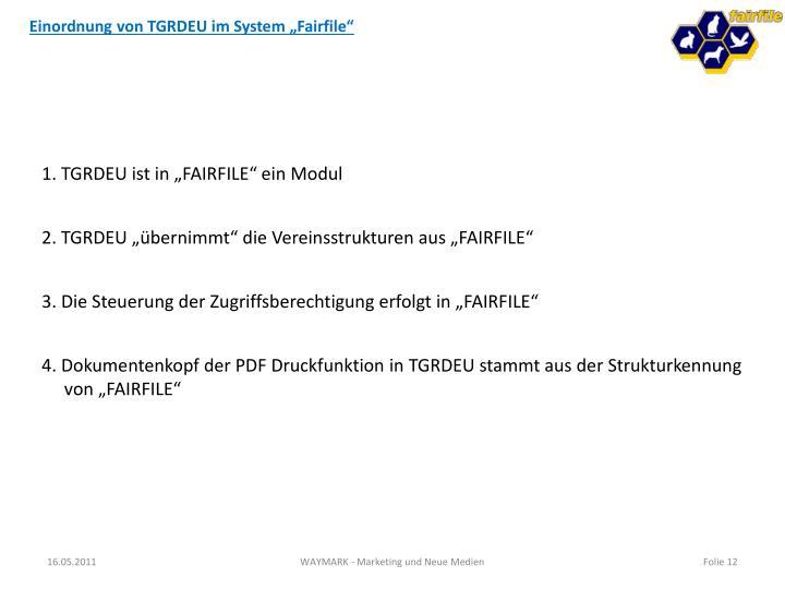 """Einordnung von TGRDEU im System """"Fairfile"""""""