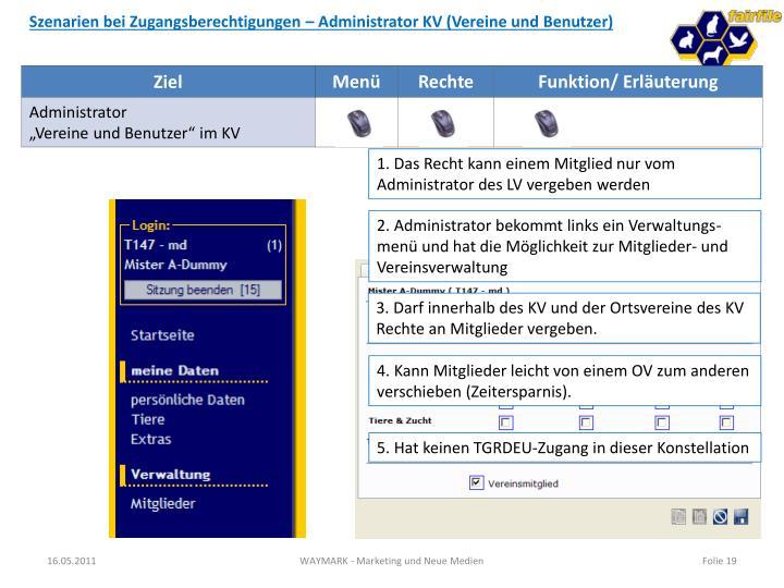 Szenarien bei Zugangsberechtigungen – Administrator KV (Vereine und Benutzer)