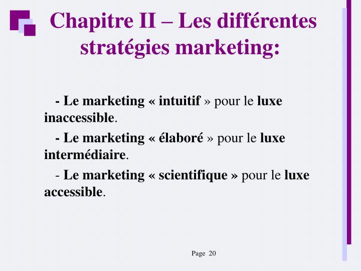 Chapitre II – Les différentes stratégies marketing: