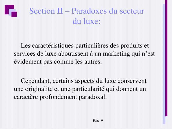 Section II – Paradoxes du secteur