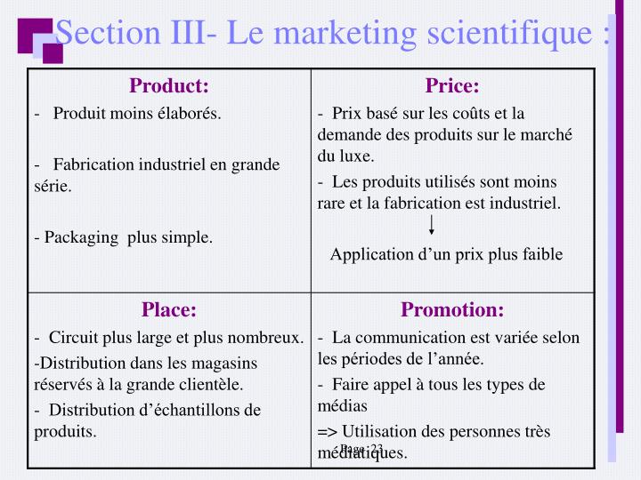 Section III- Le marketing scientifique :