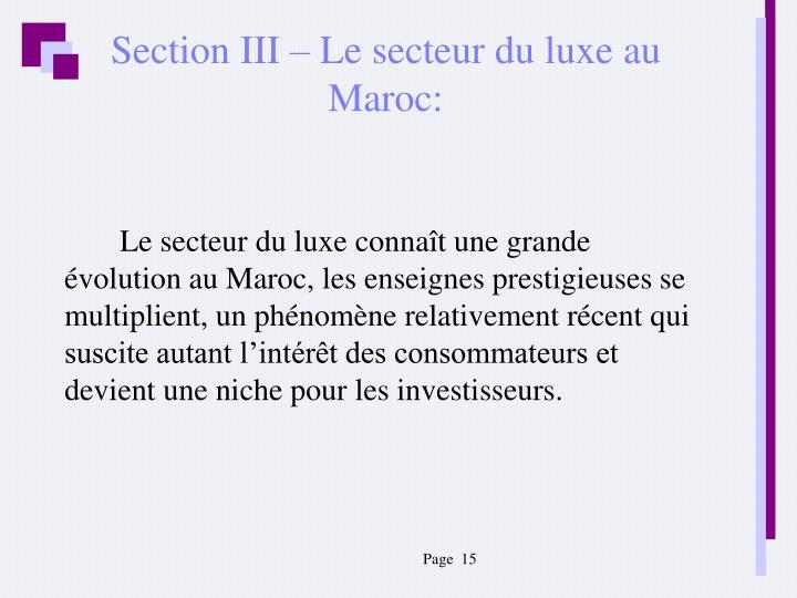 Section III – Le secteur du luxe au Maroc: