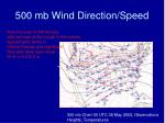 500 mb wind direction speed