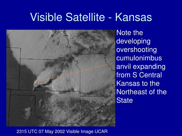 Note the developing overshooting cumulonimbus anvil expanding from S Central Kansas to the Northeast of the State