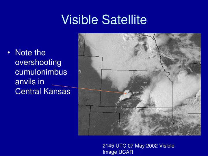 Note the overshooting cumulonimbus anvils in Central Kansas