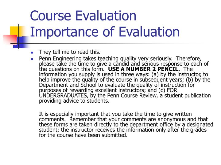 Course evaluation importance of evaluation