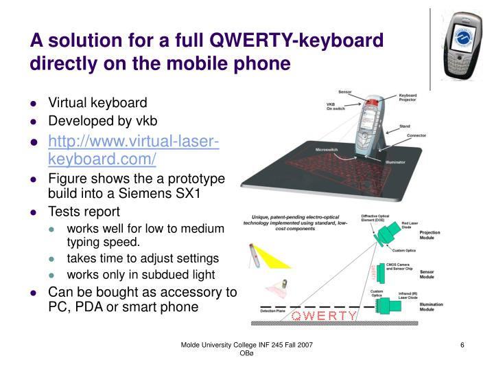 A solution for a full QWERTY-keyboard directly on the mobile phone
