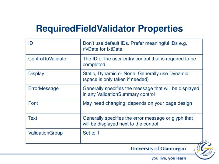 RequiredFieldValidator Properties