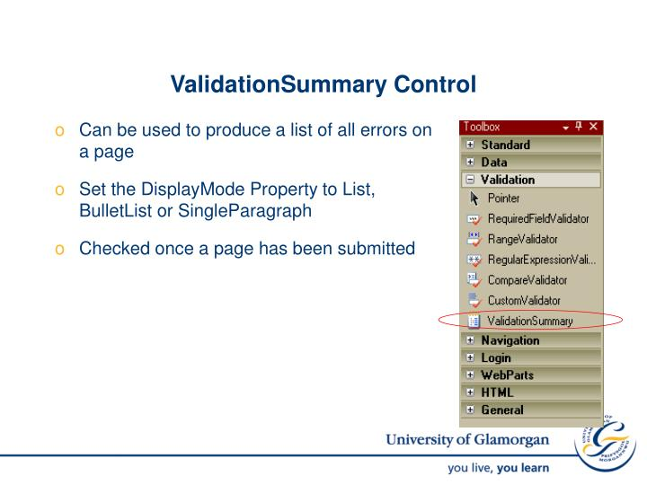 ValidationSummary Control