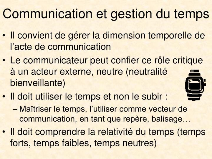 Communication et gestion du temps