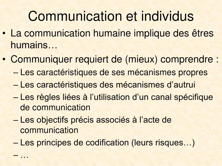 Communication et individus