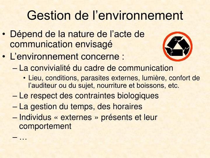 Gestion de l'environnement