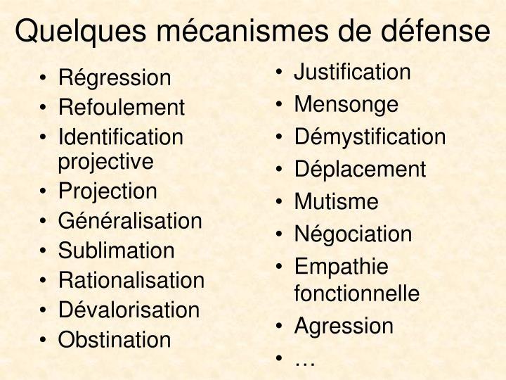 Quelques mécanismes de défense
