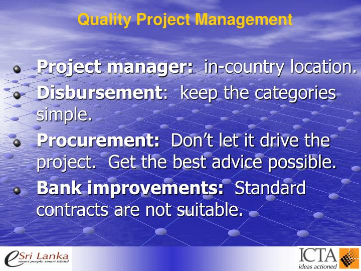 Quality Project Management