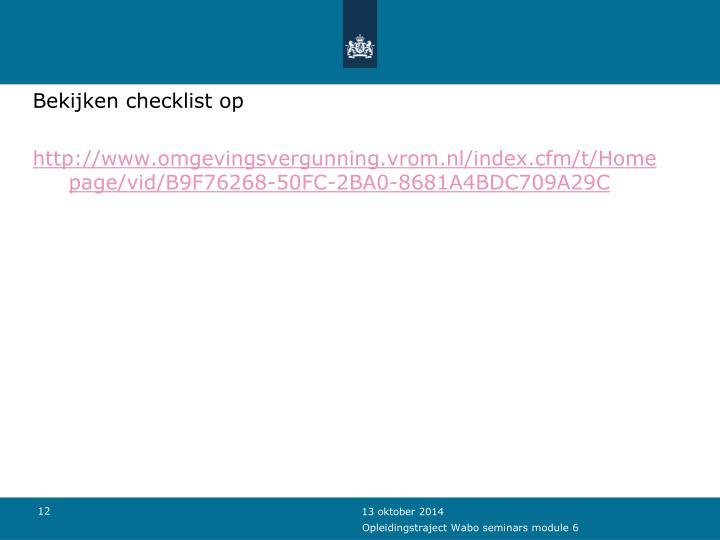 Bekijken checklist op