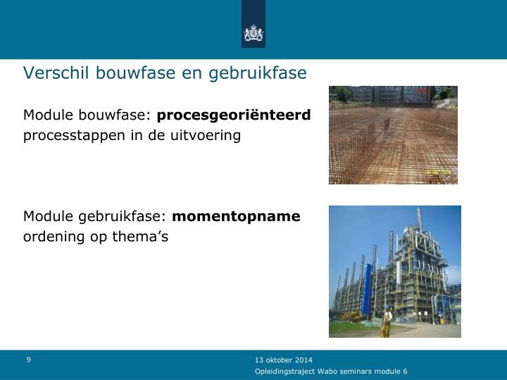Verschil bouwfase en gebruikfase