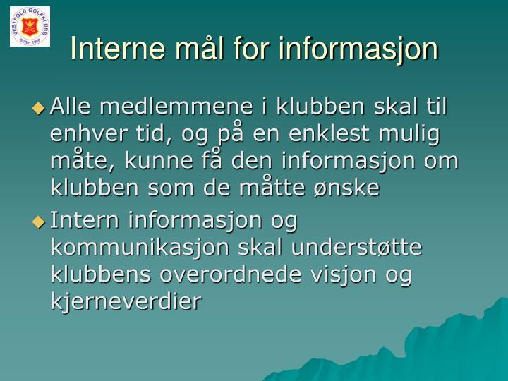Interne mål for informasjon