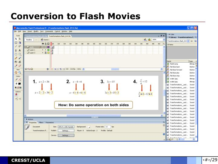 Conversion to Flash Movies