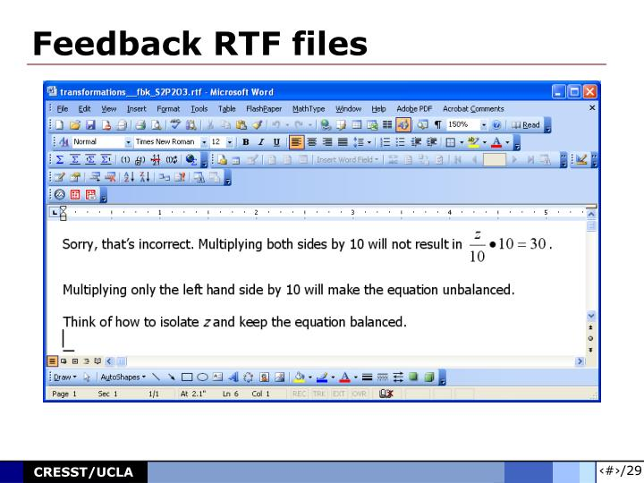 Feedback RTF files