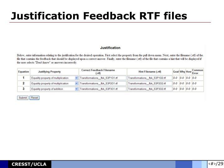 Justification Feedback RTF files