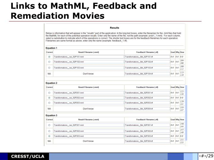 Links to MathML, Feedback and Remediation Movies
