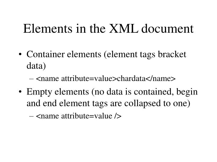 Elements in the XML document
