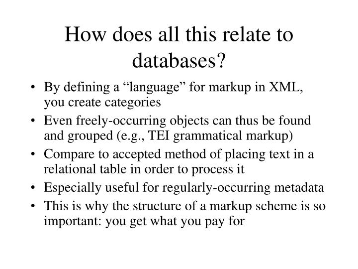 How does all this relate to databases?
