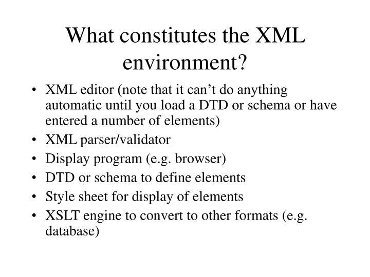 What constitutes the XML environment?