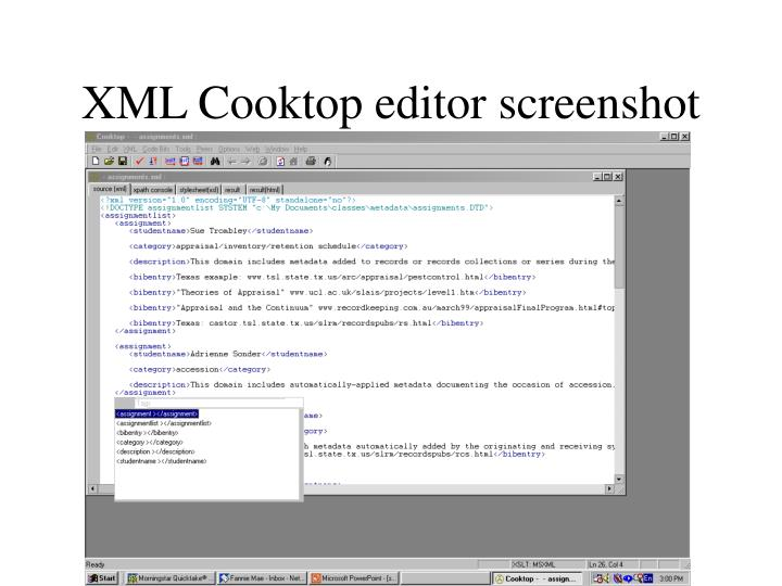 XML Cooktop editor screenshot