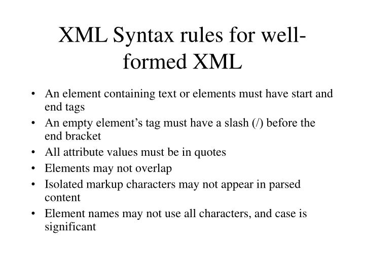 XML Syntax rules for well-formed XML