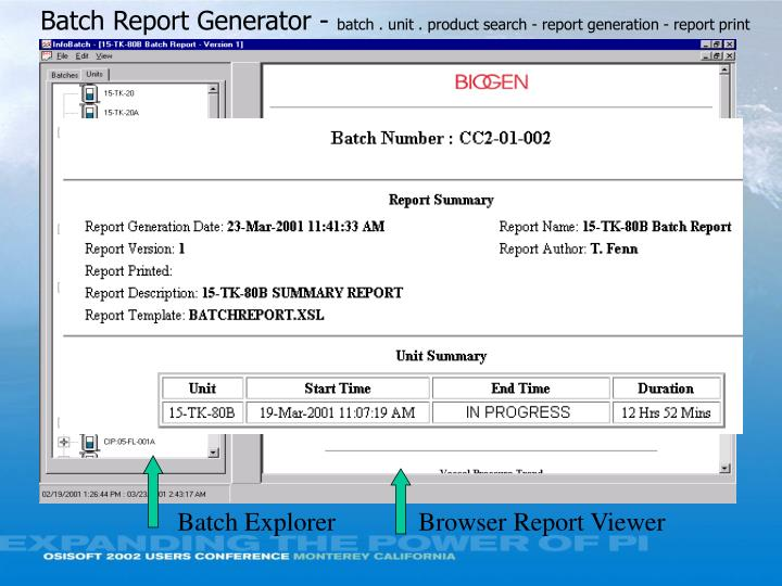 Batch Report Generator -