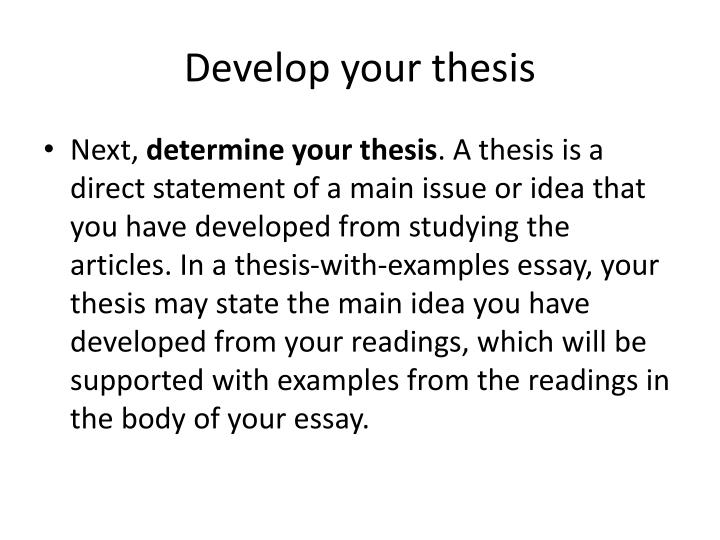 Develop your thesis