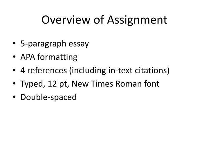 Overview of Assignment