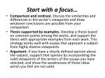 start with a focus