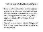 thesis supported by examples