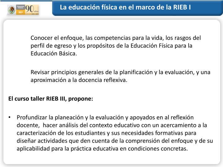 La educación física en el marco de la RIEB I