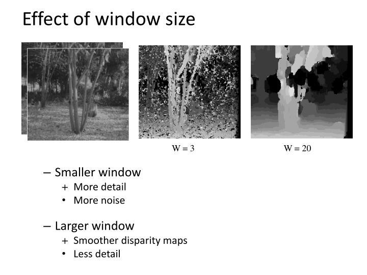 Effect of window size