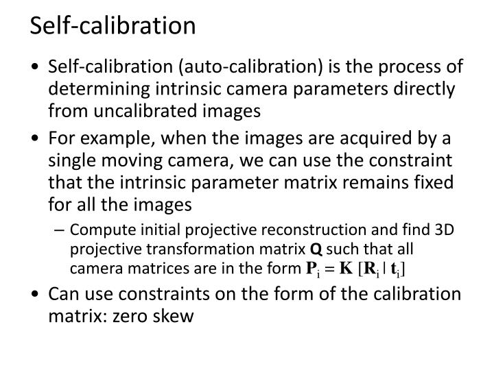 Self-calibration