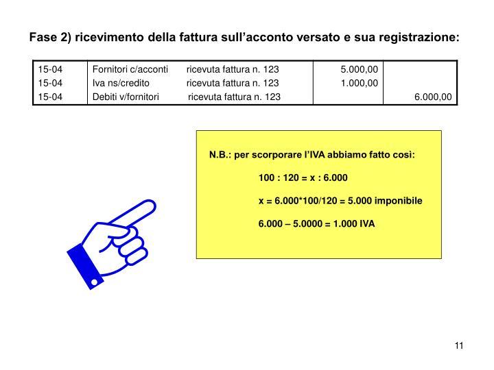Fase 2) ricevimento della fattura sull'acconto versato e sua registrazione: