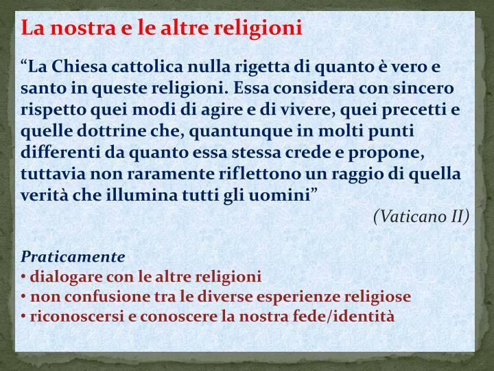 La nostra e le altre religioni