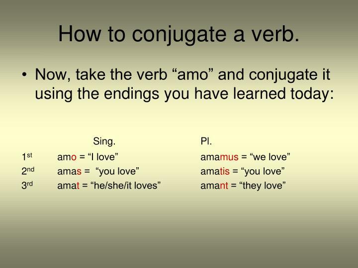 How to conjugate a verb.