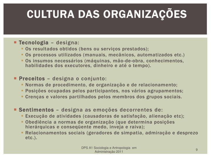 Cultura das Organizações