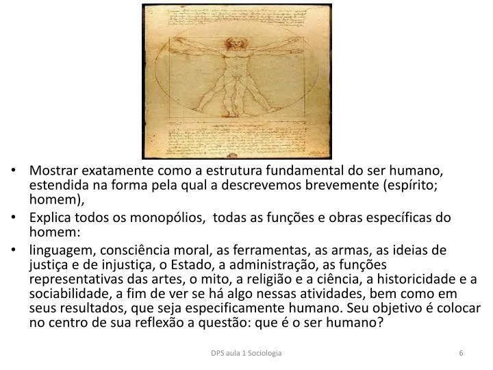 Mostrar exatamente como a estrutura fundamental do ser humano, estendida na forma pela qual a descrevemos brevemente (esprito; homem),