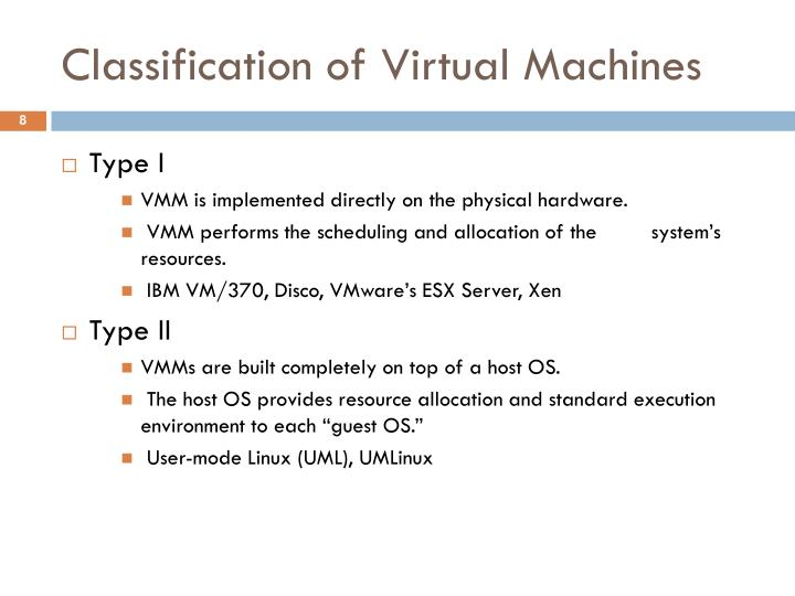 Classification of Virtual Machines